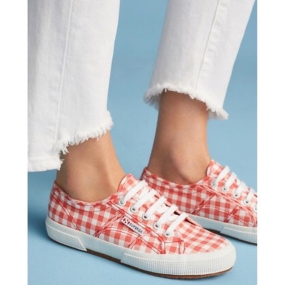 Anthropologie Red Gingham Sneakers 85